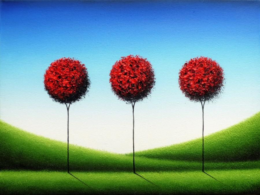 Wedding - Whimsical Art, Dreamscape Art Print, Modern Abstract Art, Red Tree Print, Giclee Print, Contemporary Wall Decor, Lollipop Tree Art, Wall Art