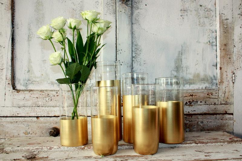 Gold Wedding Decor 6 Custom Dipped Cylinder Vases Or Candle Holders Table Decorations Centerpieces