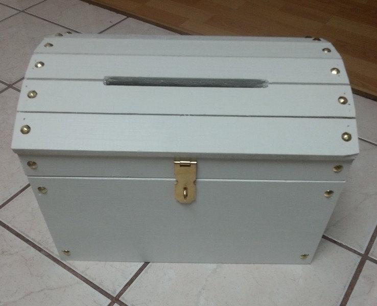 large wooden wedding treasure chest card box with card slot white