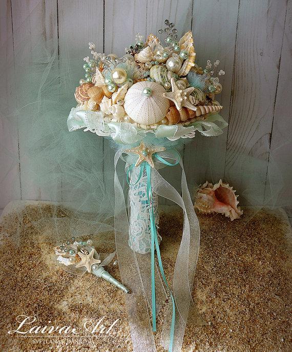 Wedding - Beach Shell Bouquet Starfish Bouquet Beach Wedding Bouquet Seashell Wedding Bouquet