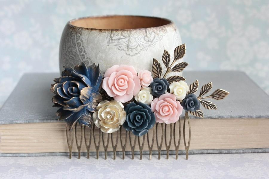Hochzeit - Navy Rose Hair Comb Big Floral Hair Piece Blush Pink and Gold Wedding Floral Bridal Hair Comb Vintage Style Flowers for Hair Something Blue