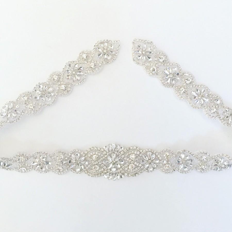 Hochzeit - Crystal Rhinestone Belt with Clasp- Bridal Belt - Bridal Sash - Embellished Belt - All The Way Around Bridal Belt with Clasp - EYM B045-M