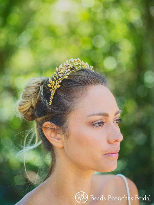 Mariage - Golden Leave Wedding Tiara w Diamond Rhinestones,Gold Leaf Crystal Rhinestones Wedding Crown,Reign Gold Leaf Headpiece,Briddal Gold Headband