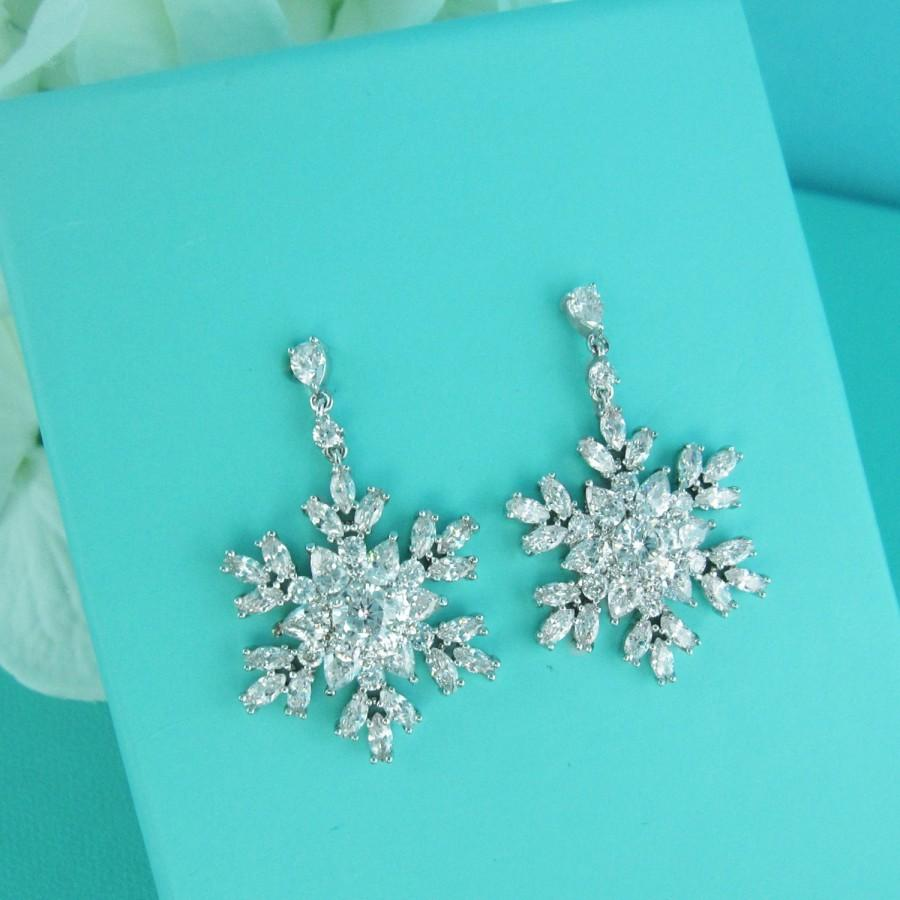 Snowflake Earrings Snowflake CZ Earrings Snowflake Accessories