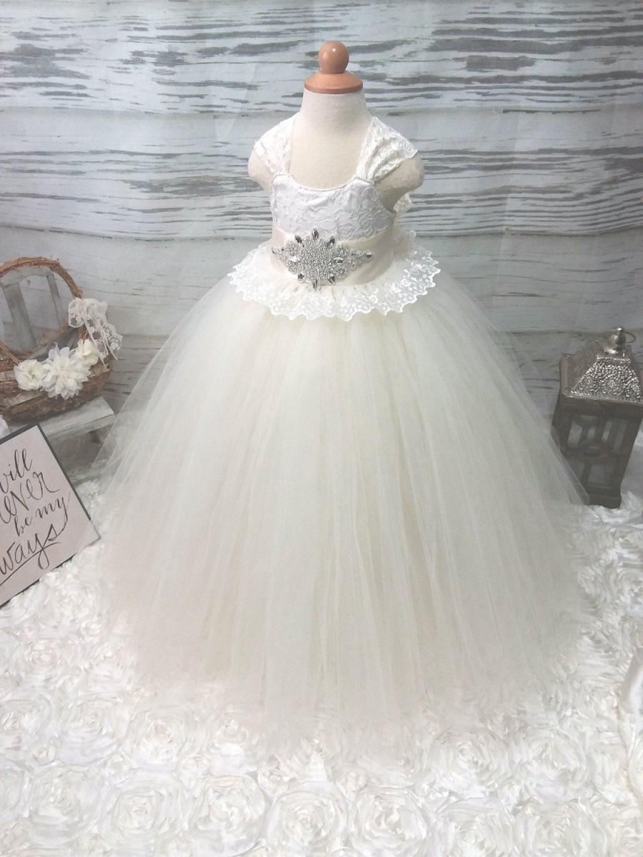 Wedding - Free Shipping  to USA Custom Made Ivory Tutu Dress for Flower Girls Available in Sizes Newborn  to 14 years old