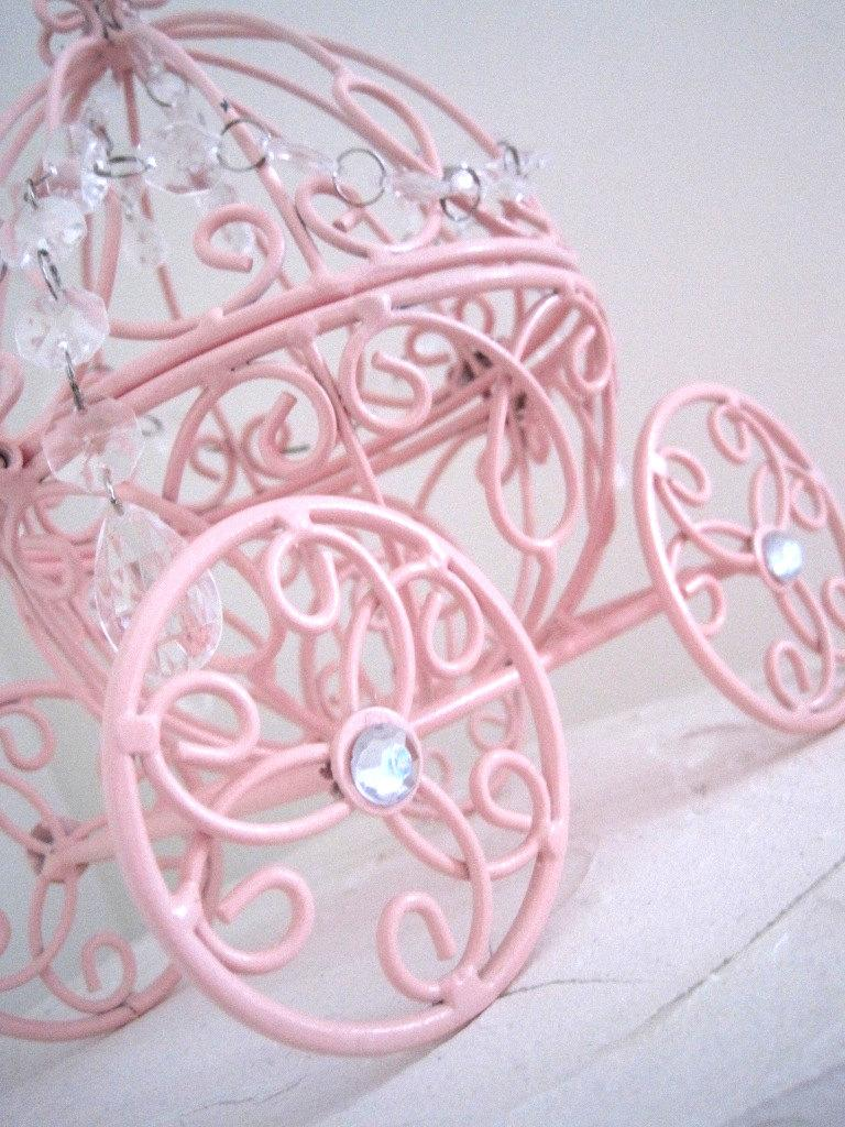 Hochzeit - Cinderella Carriage N Crystal Baby Pink Cake Topper MADE TO ORDER