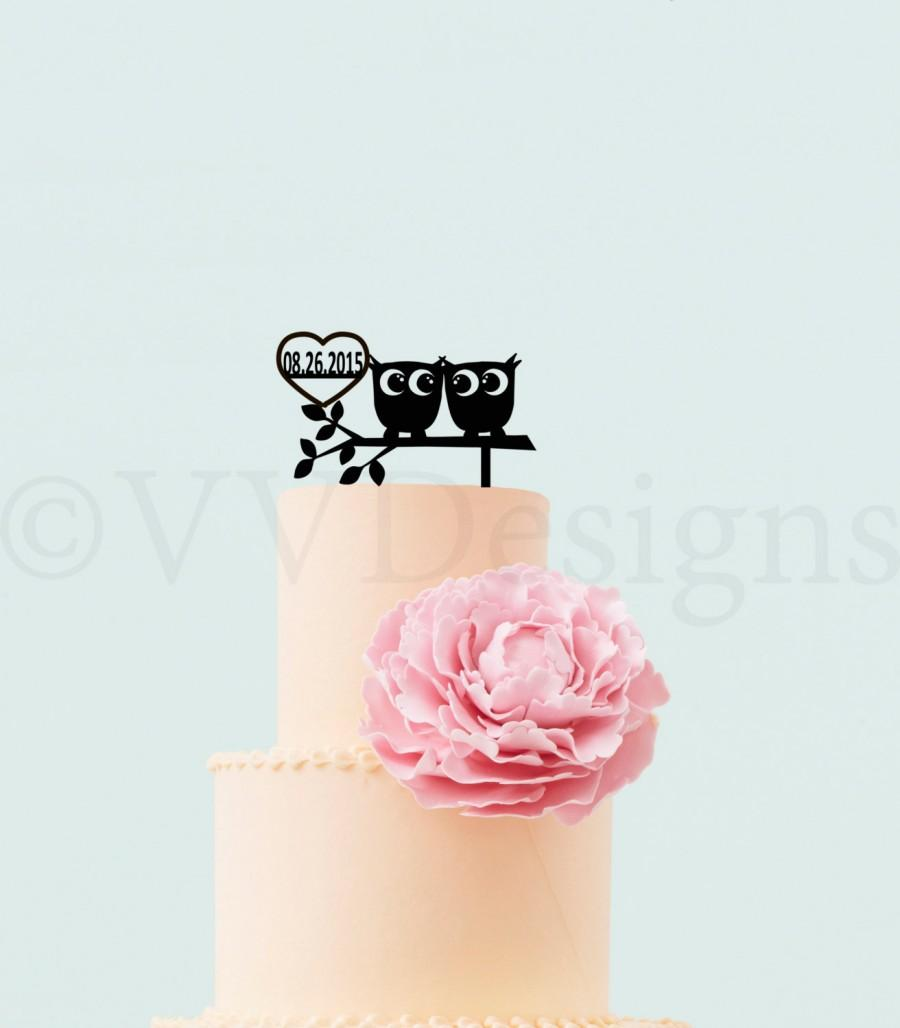 Mariage - Wedding Cake Topper Wedding Decor Personalized Mr Mrs Cake Topper Owls In Love