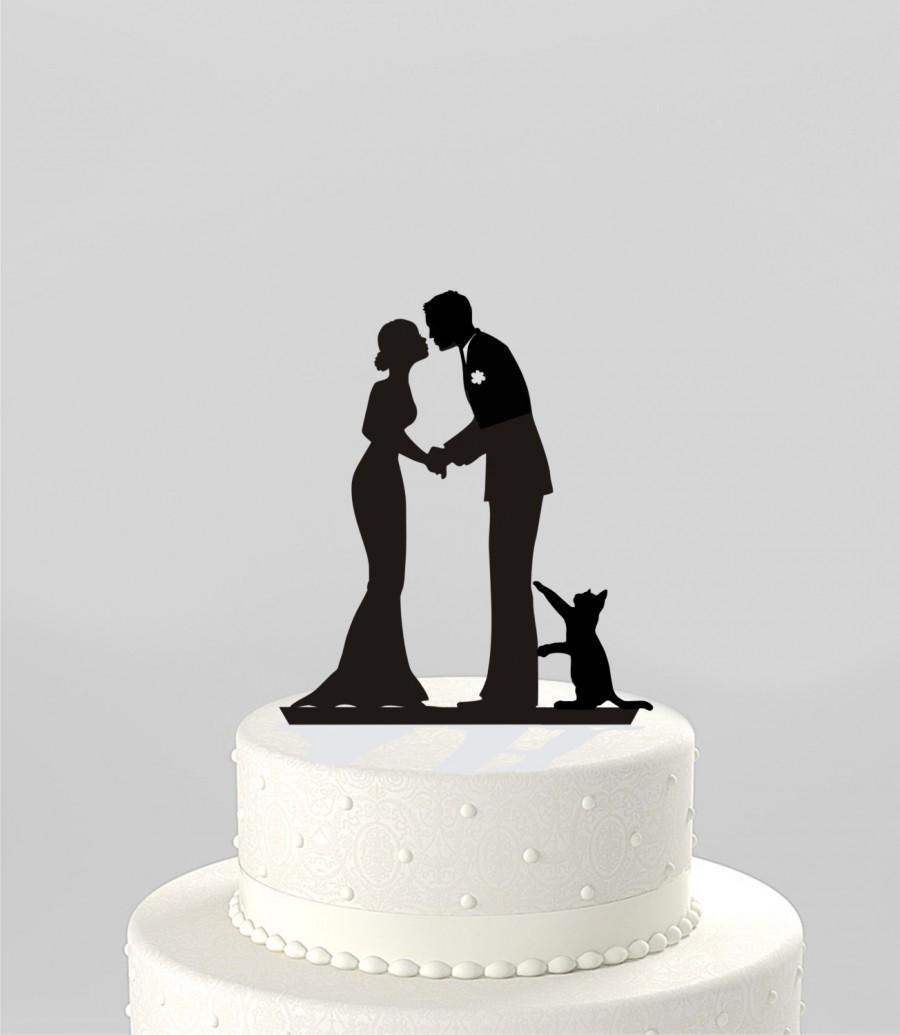 Mariage - Wedding Cake Topper Silhouette Groom and Bride with Cat, Mr & Mrs Acrylic Cake Topper, [CT78pc]