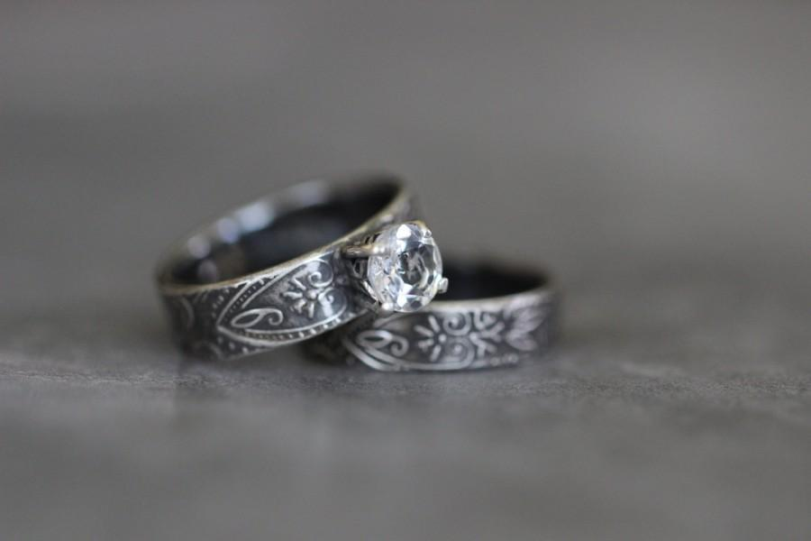 Mariage - Wedding Ring Set, Engagement Ring, White Topaz, Prong Setting, Sterling Silver, Embossed Ring, Botanical, Paisley, Rustic, Artisan, Boho