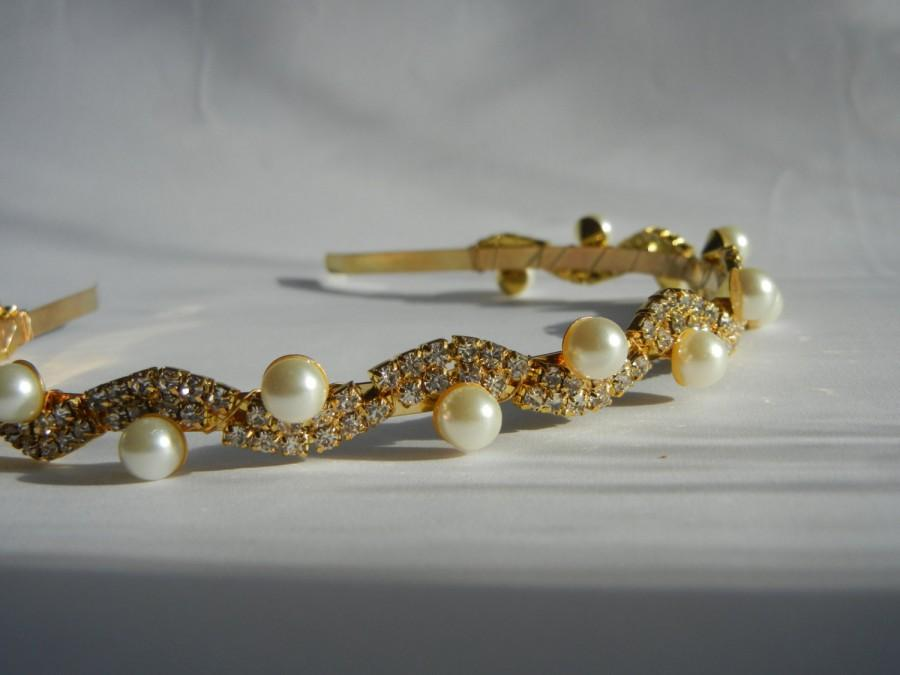 Mariage - Pearl Headband, Pearl Hairpiece, Rhinestone Headband, Gold Headband, Rhinestone Hairpiece, Bridal Headband, Bridal Hairpiece.
