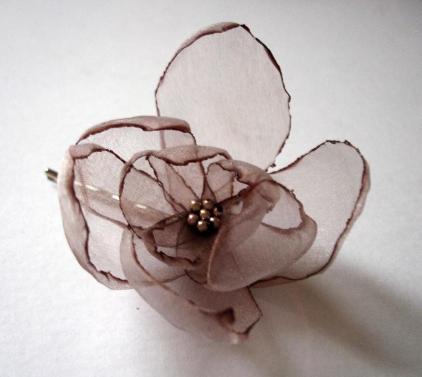 Mariage - romantic chocolate coffee rose blossom flower bobby pin