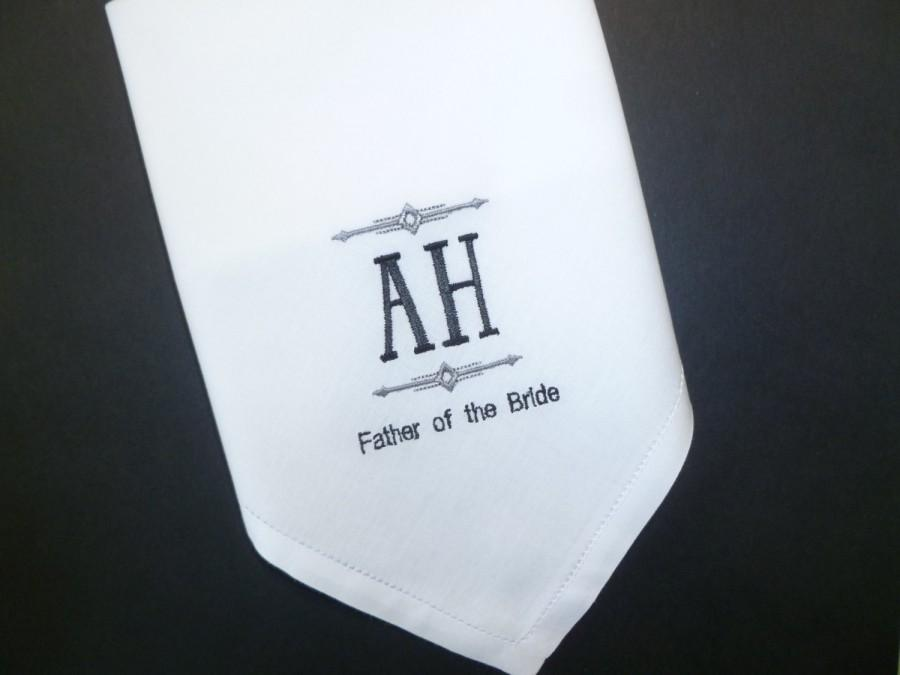 Mariage - MONOGRAM Father of the Bride Handkerchief Custom Personalized Wedding Embroidered Hankerchief