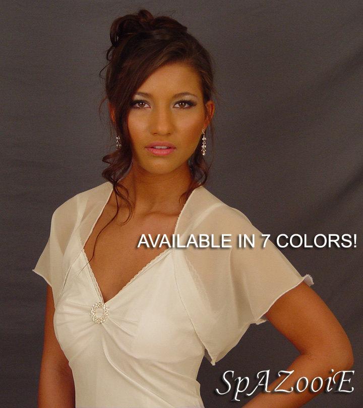 Hochzeit - Chiffon wedding bolero jacket bridal shrug short sleeve CBA200 AVAILABLE IN 7 COLORS white, ivory, champagne, gray, pink, navy blue, black