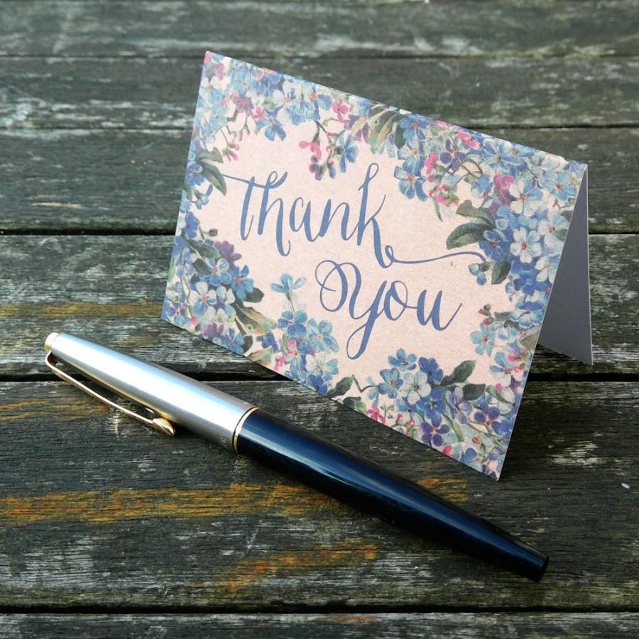 Hochzeit - Mini Thank You Cards and envelopes, set of 10, A7, 105mm x 74mm floral thank you card, blue floral, thank you card set, thank you notes