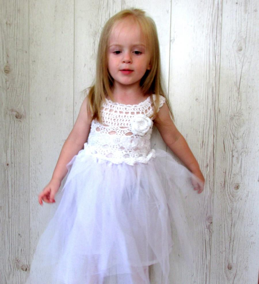 White Flower Girl Dress, Girls Tutu Dress, Crochet Tutu Dress ...