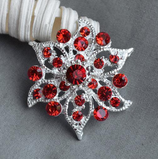 Свадьба - 5 Large Rhinestone Button Embellishment Ruby Red Crystal Wedding Brooch Bouquet Invitation Cake Decoration Hair Comb Clip BT316