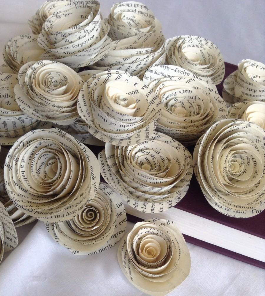 Book Page Roses Set Of 30 Paper Roses Wedding Flowers