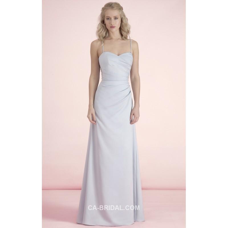 Wedding - 2017 Comely Straps Sleeveless Ruched Floor-length Elastic Woven Satin Sheath/Column Designer Bridesmaids Gown UK - dressosity.com