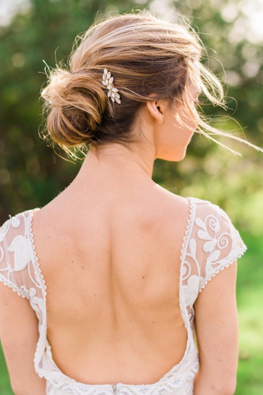 Mariage - Gold Opal Crystal Hair Comb Bridal Comb Bridal Headpiece Crystal Headpiece Bridal Hair piece Wedding Hair piece Opal Hair comb #150