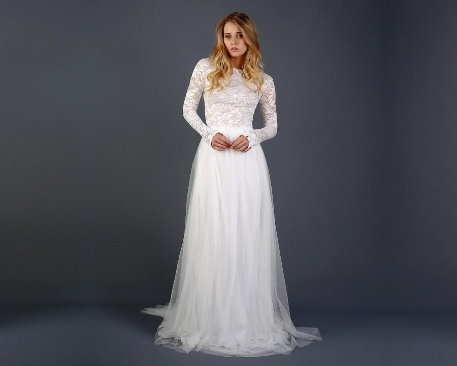 Beautiful Lace Long Sleeve Wedding Dress With Silk Chiffon