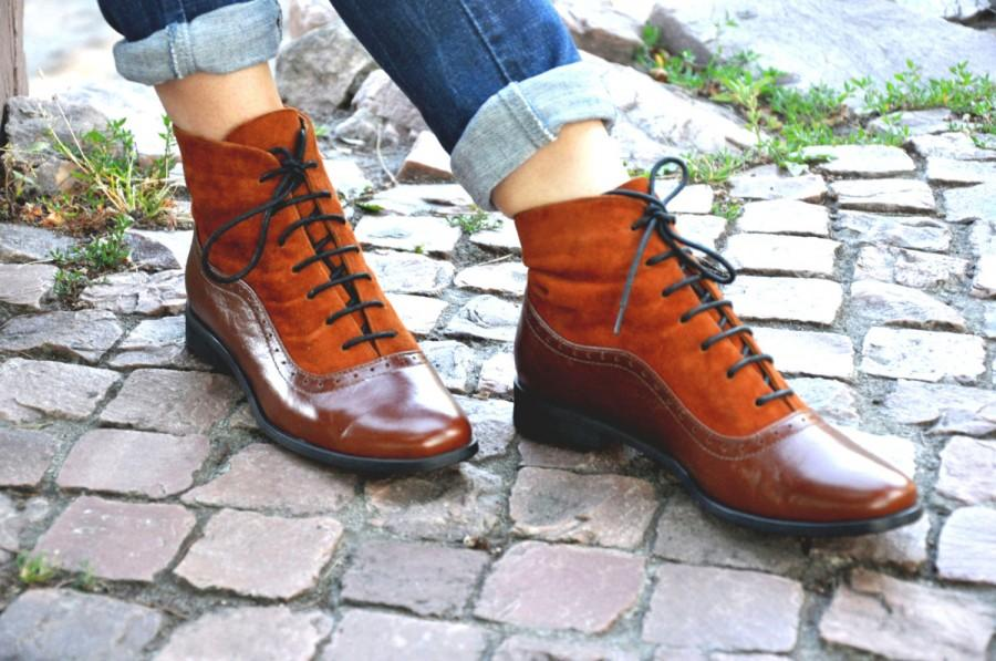 Wedding - Armada - Womens Fall Boots, Lace-up Leather Boots, Oxford Boots, Leather Ankle Boots, Custom boots, FREE customization!!!