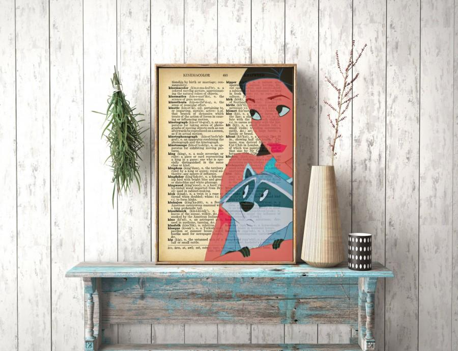 Wedding - Instant Download, Pocahontas, Nursery Art, Disney Princess,Dictionary page, Wall Hanging, Dictionary Print, Book Print, Pocahontas poster