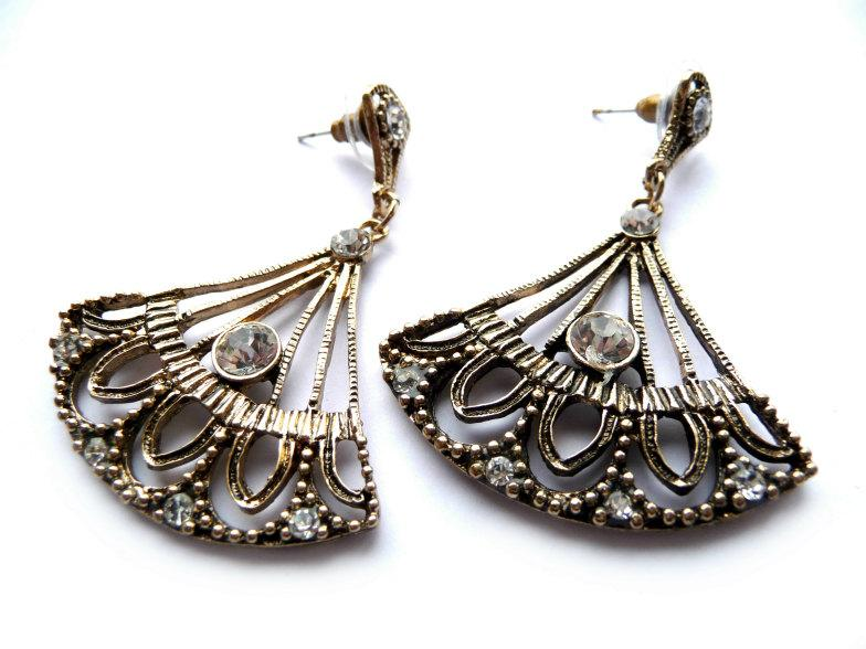 Wedding - Antique Gold, Earrings, Post Dangle Earrings, Fen Earrings, Vintage Style, Everyday Earrings, Bronze Crystal, Gold Crystal, Vintage Gold,