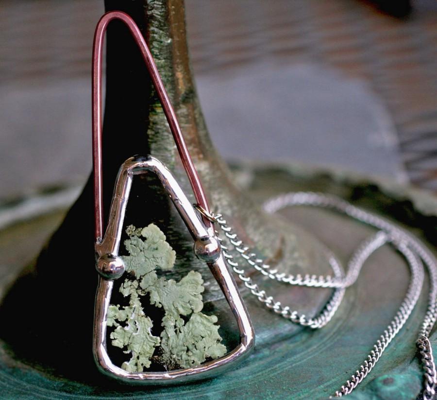 Wedding - terrarium necklace real lichen jewelry modern boho necklace pendant copper patina modern necklace drop silver deco natural real LICHEN DROP