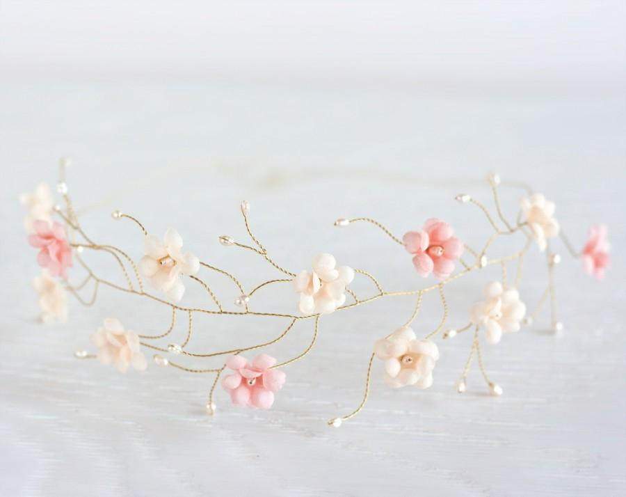 Wedding - 23_Pink flower crown, Gold hair accessories, Tiara flowers, Bridal headband, First Communion head piece, Circlet of flowers, Flower halo.