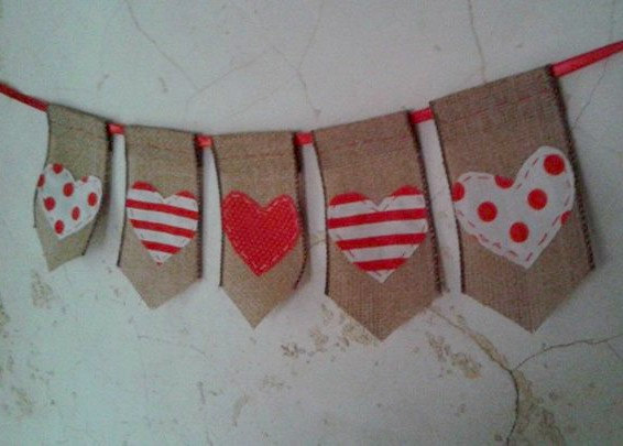 Wedding - Valentine Hearts Banner... all hand-stitched. Hearts made of fun Strips and polka dot fabric. A fun festive addition to your holiday fun.