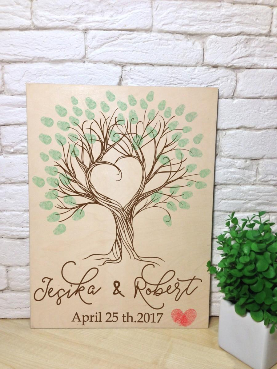 Hochzeit - Wedding  Guest Book Tree  ThumbprintI GUESTBOOK Alternative Wooden Engraved Rustic Guest Book  Unique Guest book  Fingerprint Wedding Tree
