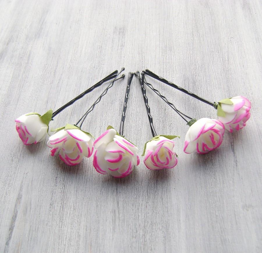 Wedding - White Hot Pink Flowers Bobby Pins, Roses Bridal Hair Pins, Woodland, Bridal Hair Clip, Flower Clips, Wedding Hair Accessory, set of 6