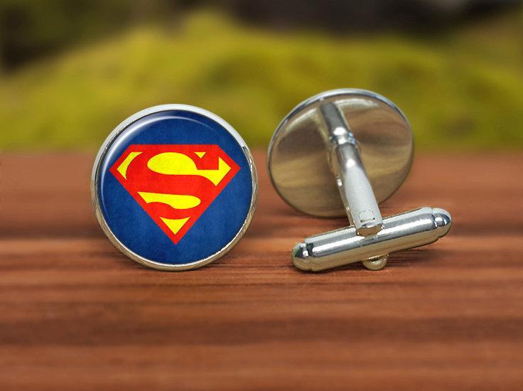 Mariage - Superman cufflinks, superhero cufflinks, custom cufflinks, groom cufflinks, groomsmen personalized cufflinks, man gift, red blue yellow
