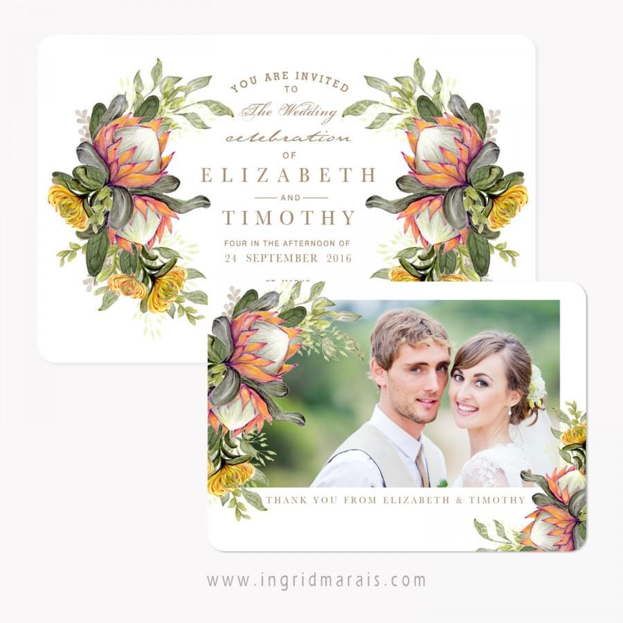 Classic Protea Floral Bouquet Wedding Invitation. Printable Bohemian ...