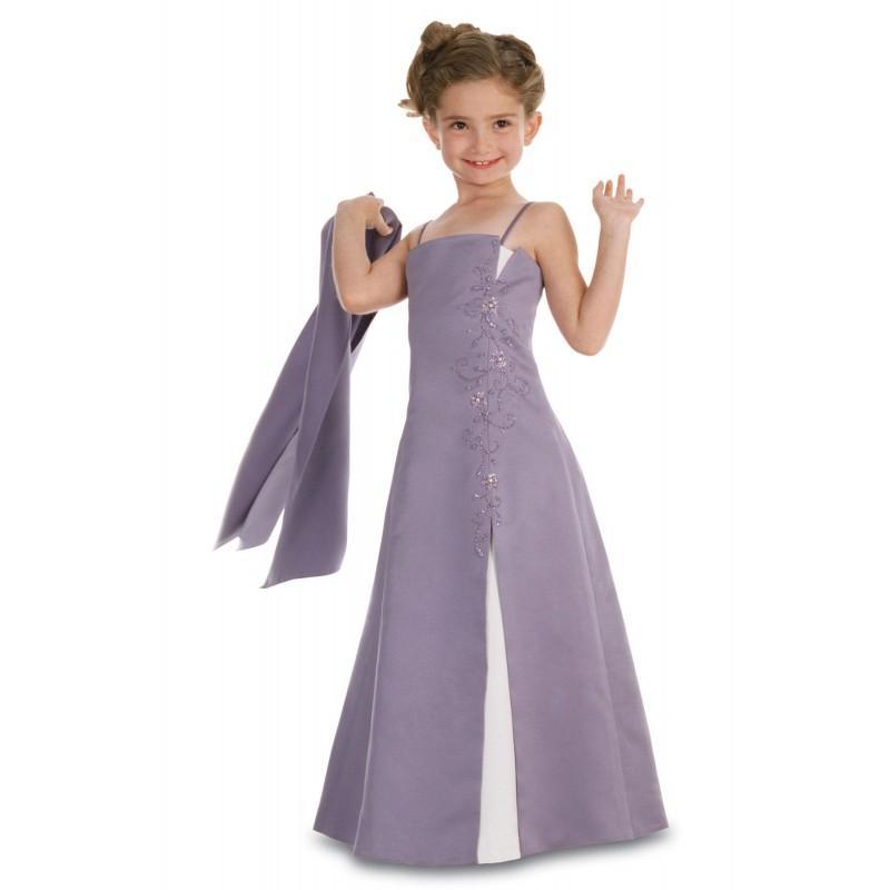 Hochzeit - Nectarean A-line Spaghetti Straps Beading Floor-length Satin Junior Bridesmaid Dresses - Dressesular.com
