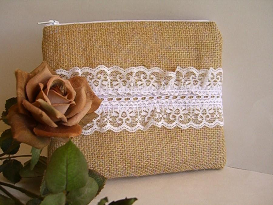 Wedding - Burlap And Lace Clutch - Burlap Makeup Bag - Burlap Clutch - Bridesmaid Gift - Wedding Clutch - Makeup Bag - Rustic Clutch - Bridal Gift