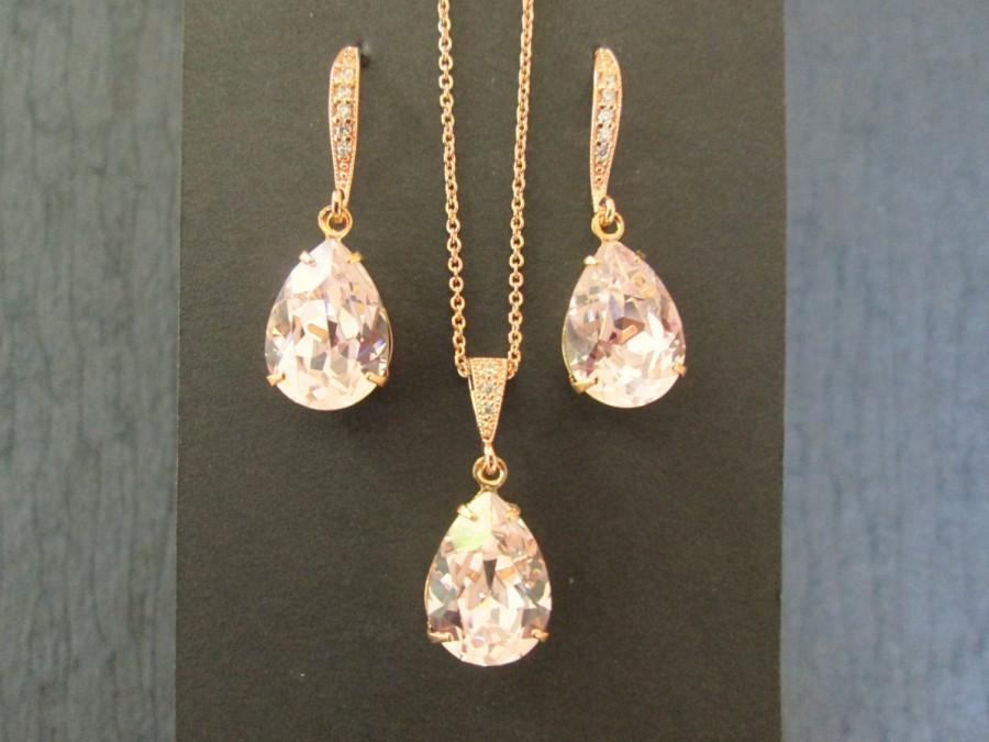 NEW Rose Gold Bridesmaid Jewelry SetSwarovski Pink Rosaline Crystal