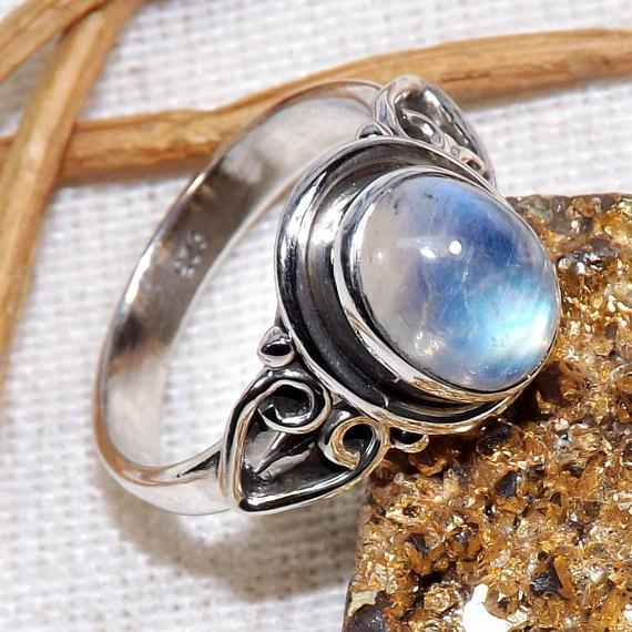 Mariage - Rainbow Moonstone Ring, Moonstone Ring, Rainbow Silver Ring, Solid Silver Rings, Designer Ring, Dailywear Rings, Promise Rings, Gift For Her
