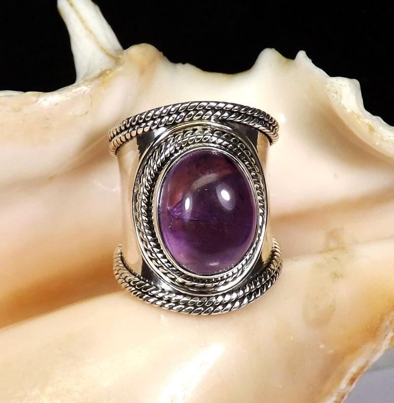 Wedding - Amethyst RIng, Amethyst Gemstone, Amethyst Jewellery, 925 Sterling silver, Designer Ring, Partywear Ring, Gift For Her, Silver Ring, Jewelry