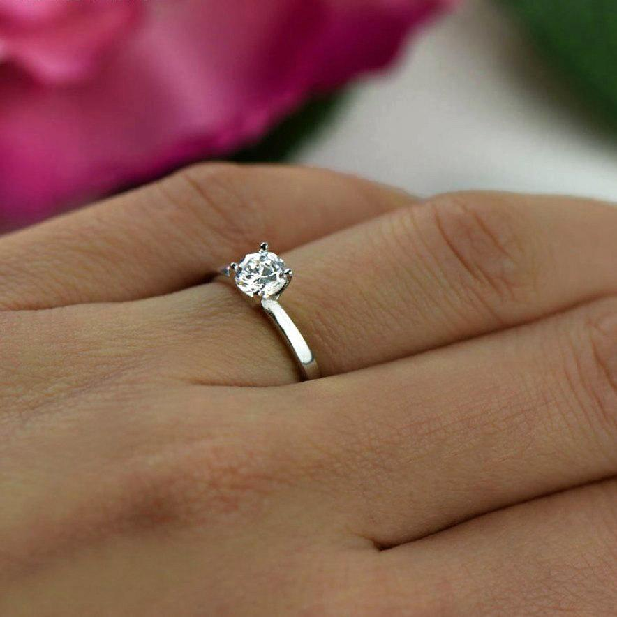 Hochzeit - 1/2 ct Engagement Ring, Classic Solitaire Ring, Man Made Diamond Simulant, Wedding Ring, Bridal Ring, Promise Ring, Sterling Silver