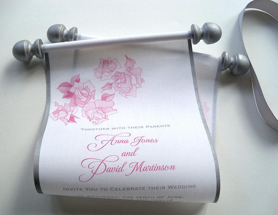 Wedding - Grey and blush wedding invitation, fabric scroll invitations, rose flowers, pink and silver, romantic wedding,  100