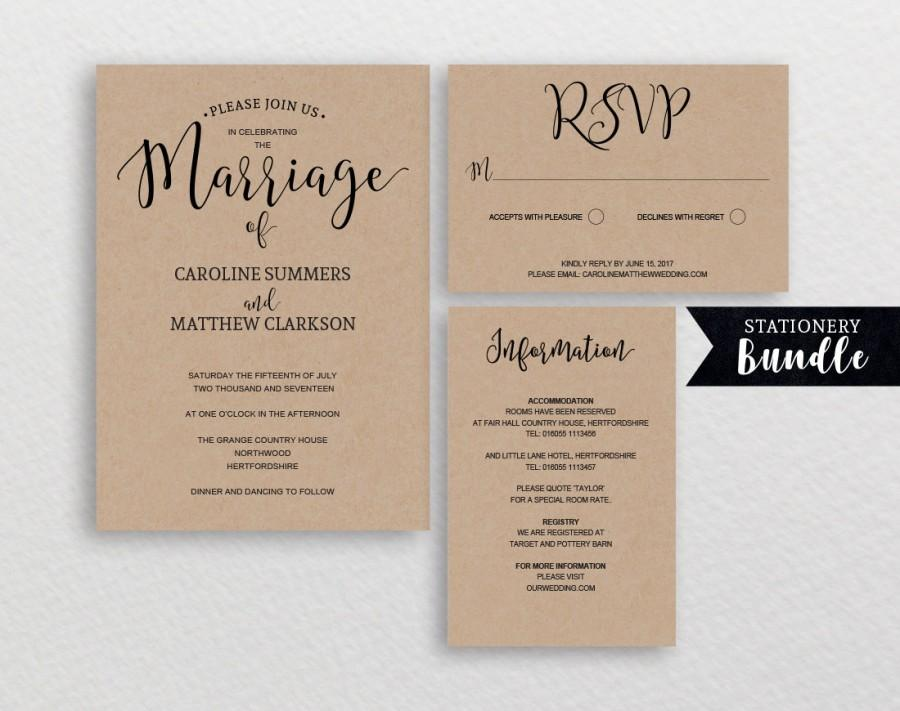 Rustic Wedding Invitation Template Printable Invitations Kraft