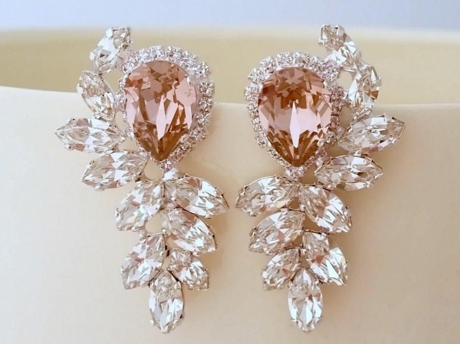Mariage - Blush bridal earrings,Bridal earrings,blush pink chandelier earrings,Extra large stud earrings,Swarovski earrings,cluster earrings,statement