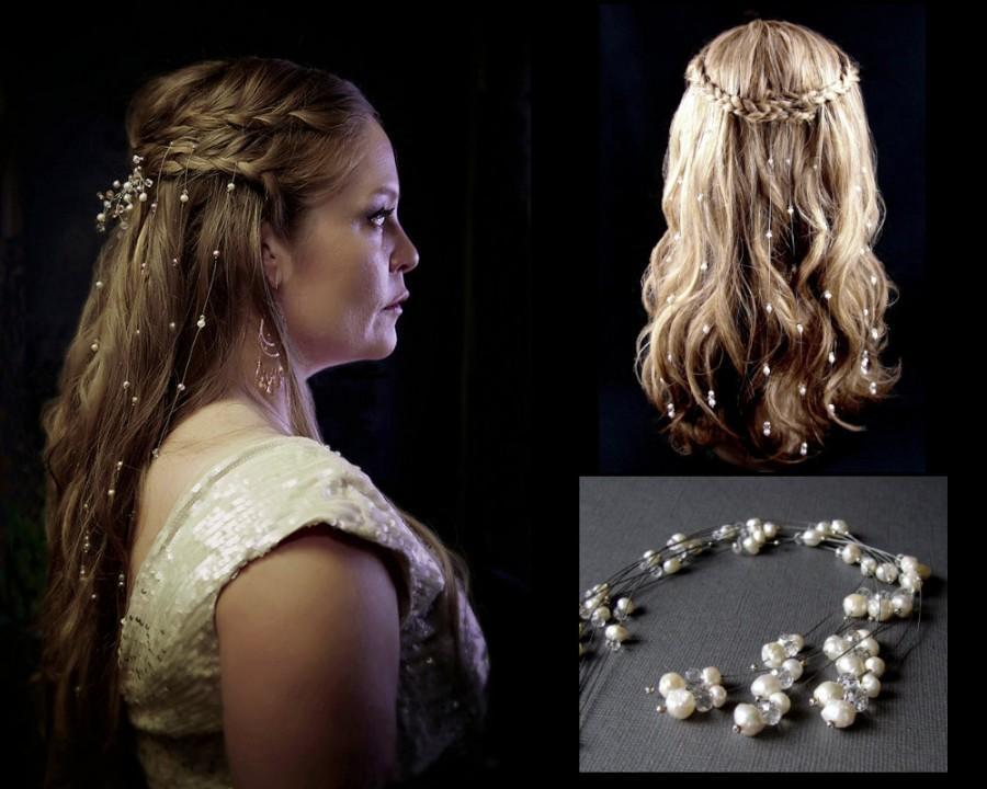 Wedding - 9 Baroque Rosebud Druzy Pearl & Crystal Hair Vines Bohemian Veil Game Of Thrones Reign Renaissance Wedding Medieval Costume Hair Extensions