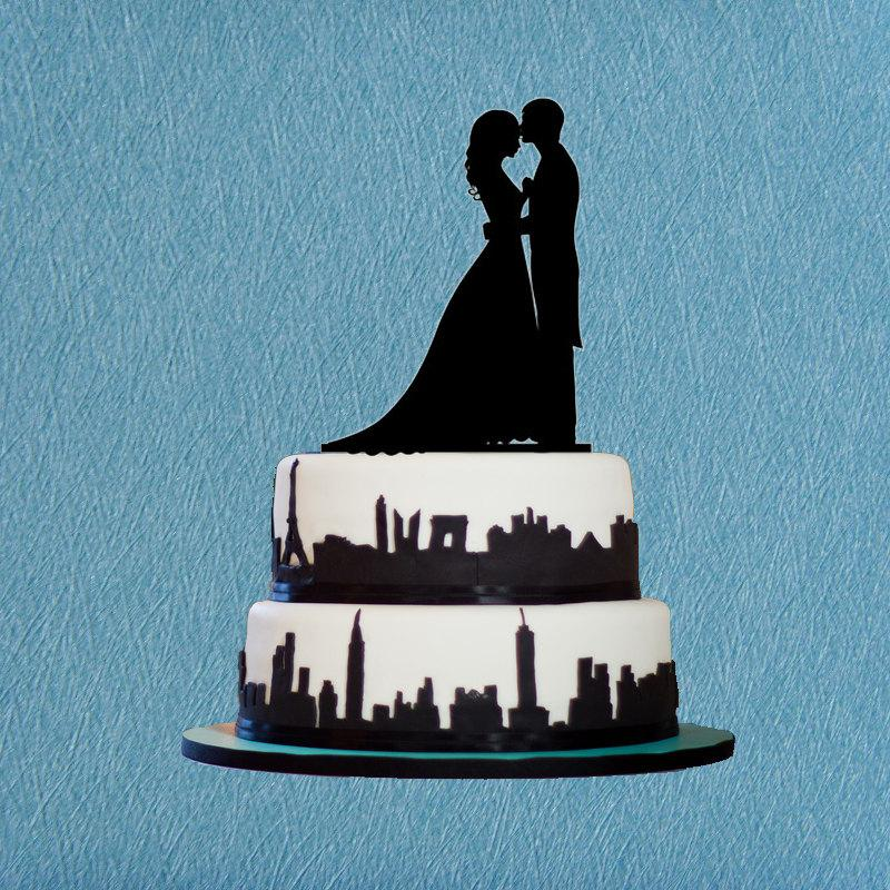 Wedding - Kissing Cake Topper,Costom Bride and Groom Kiss Silhouette Couple  Cake Topper,Wedding Cake Decoration
