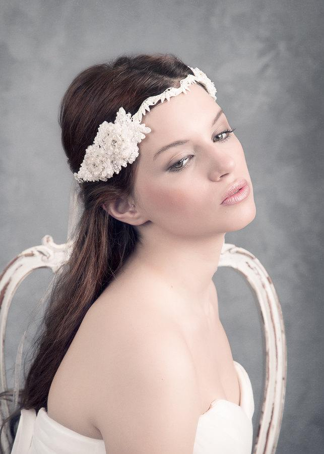 Mariage - SAMPLE SALE. Boho beaded headpiece. Wedding Headpiece. Lace headpiece. Pearls headpiece, Bridal headpiece. MOD549 bridal Crown