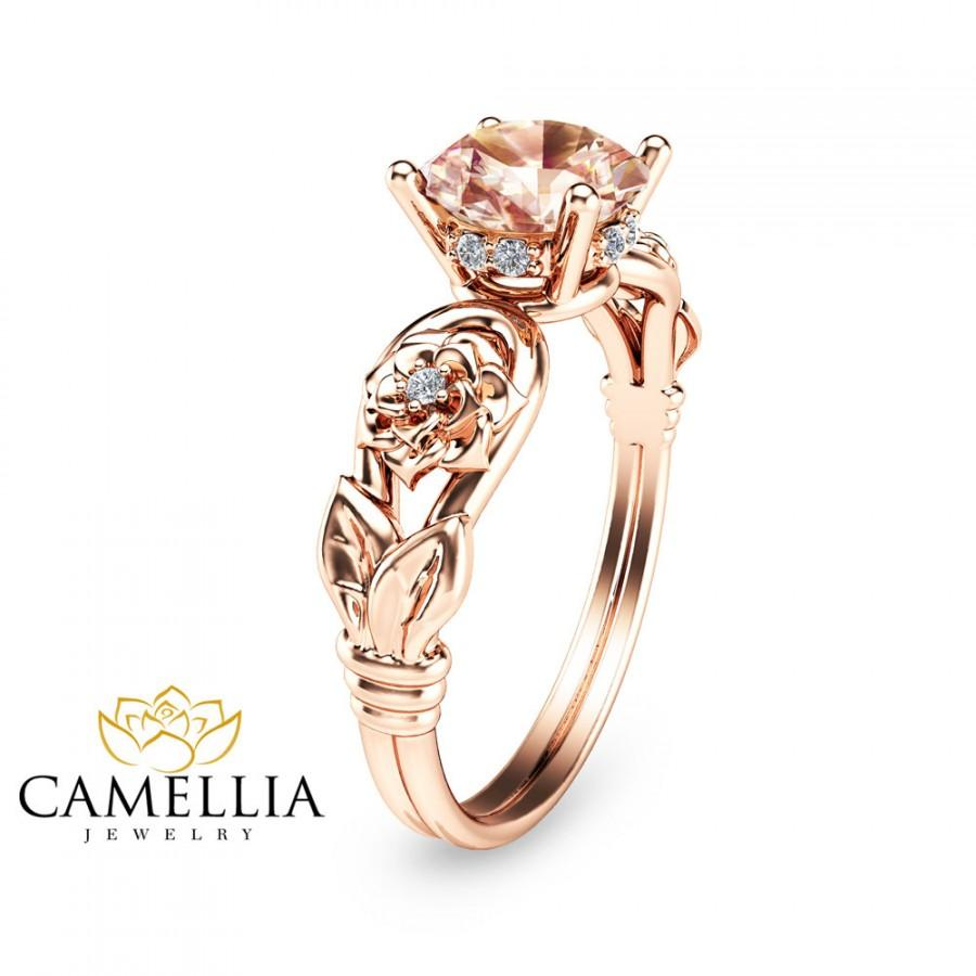 زفاف - 14K Rose Gold Morganite Engagement Ring Unique Morganite Bridal Ring Flower Rose Gold Engagement Ring