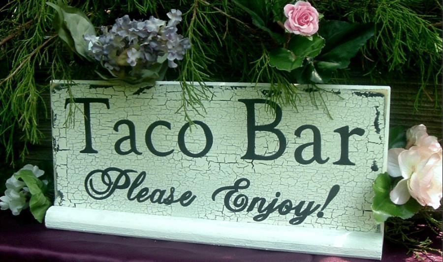 Hochzeit - Taco Bar Sign Wedding Sign Custom Sign Rustic Wedding Sign Wood Sign Table Sign