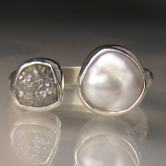 Wedding - Baroque Pearl and Rough Diamond Ring - Open Face Engagement Ring -  Made to Order