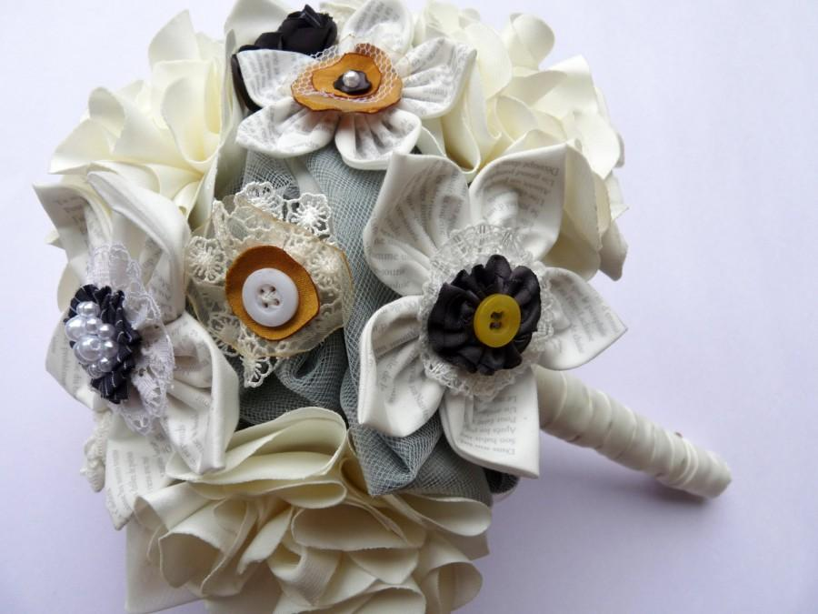 Hochzeit - Alternative wedding bouquet, unique idea for a modern wedding ivory printed text fabric flowers bouquet / posies for brides or bridesmaids